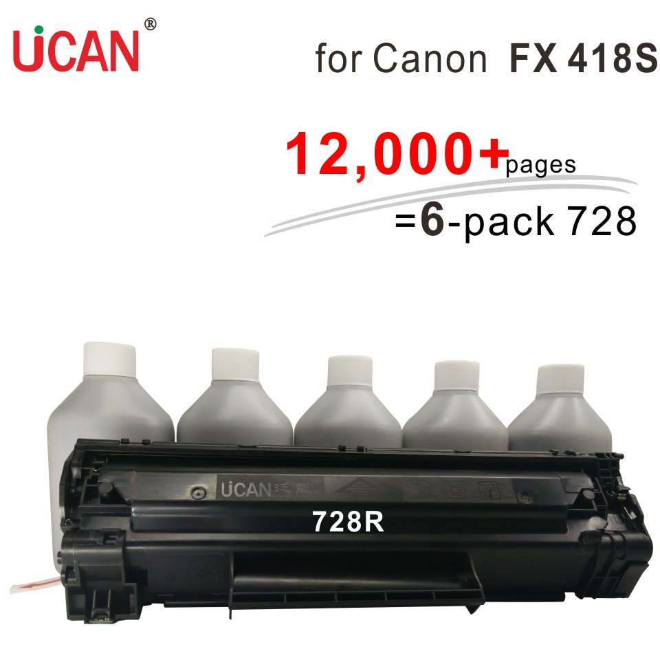 for Canon FAX 418S Printer UCAN CTSC(kit)  12,000 pages  Equivalent to 6-Pack 728 Cartridge Toner  free shipping for canon fx9 fx 9 toner cartridge for canon fax l100 l120 l140 l140g l160 160g laser printer