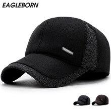 Men winter Golf Baseball caps ear protection warm casquette cap thicken woolen gorras patchwork hat for man high quality цена в Москве и Питере