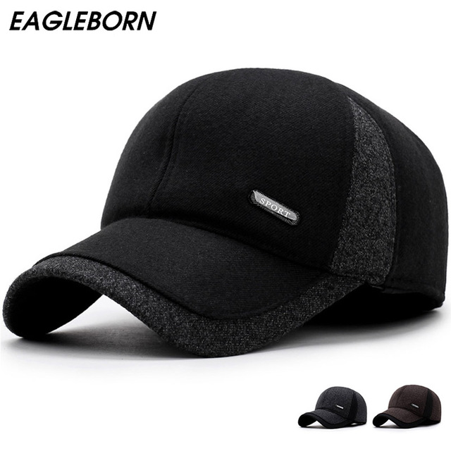 93c1be77a23d3 2019 Men winter Baseball caps ear protection warm casquette cap thicken  woolen gorras patchwork hat for