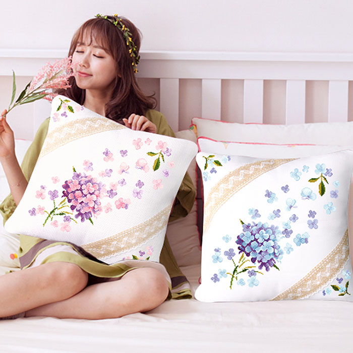 SewCrane Floral Cushion Cover Stamped Cross Stitch Kit, Flying Flowers,18.1inches