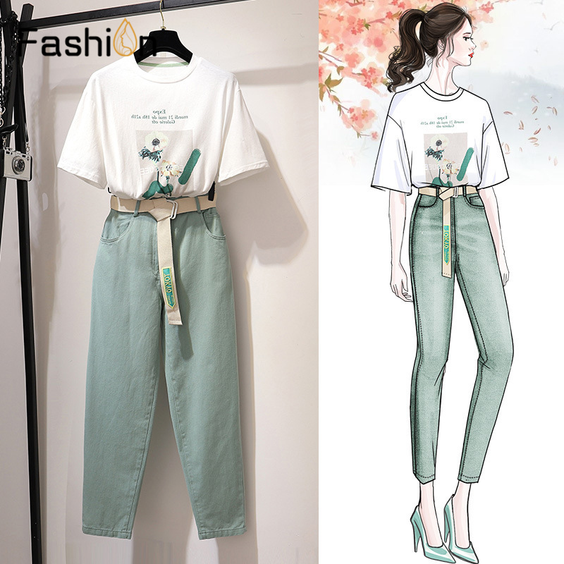 Women Casual Floral Print T Shirts Pants with Belt Two Piece Set Suits Printed Loose T shirt Denim Trousers Sets Women Tracksuit