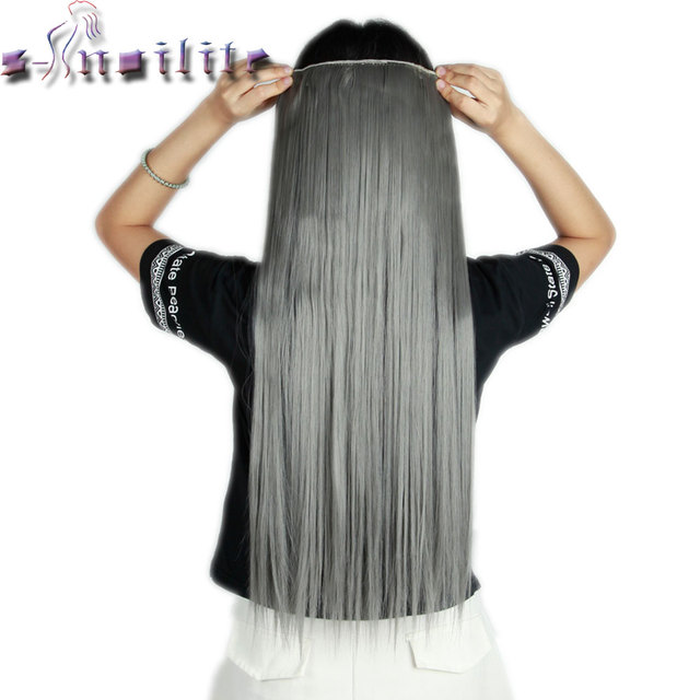 S Noilite 26 Inches Grey Straight Long 1pcs Clip In On Hair