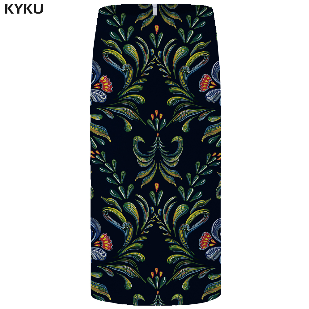 Kyku Brand Flower Skirts Women Leaf Floral Black Pencil Skhirt Vintage 3d Print Plus Size Party Ladies Skirts 2019 New Korean