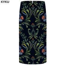 цены на KYKU Brand Flower Skirts Women Leaf Floral Black Pencil Skhirt Vintage 3d Print Plus Size Party Ladies Skirts 2018 New Korean  в интернет-магазинах