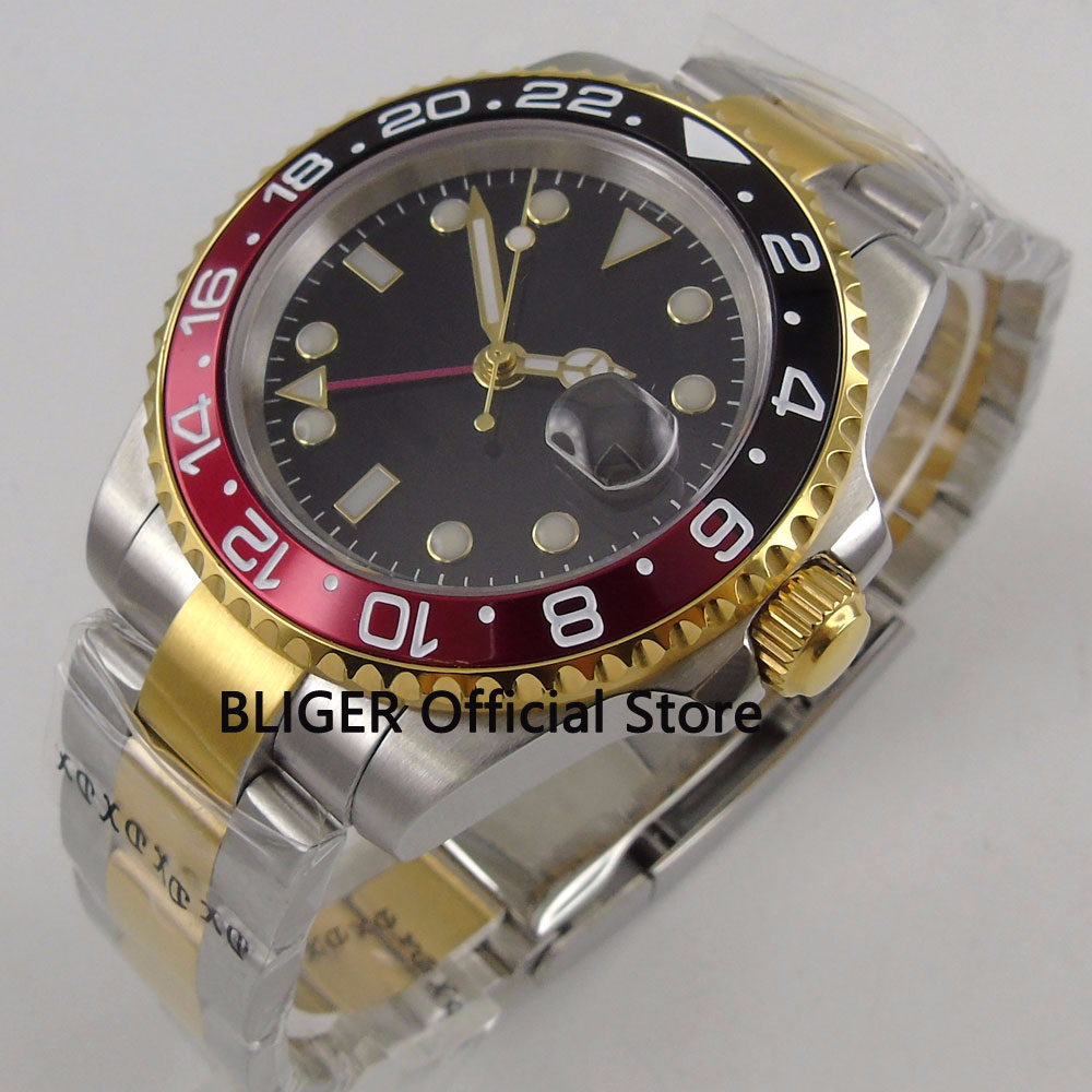 Fashion BLIGER 40mm Black Sterile Dial Red Black Bezel GMT Function Sapphire Glass Luminous Automatic Movement Mens Watch B271Fashion BLIGER 40mm Black Sterile Dial Red Black Bezel GMT Function Sapphire Glass Luminous Automatic Movement Mens Watch B271