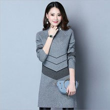 Half-Collar Knitted Midi Pallover Womens Sweater Fits most Cloth