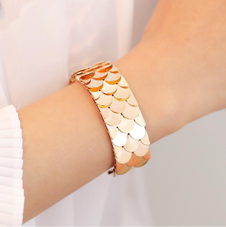 Opening Cuff Bangle &Bracelet For Women Stainless Steel Bracelet Argent Fish Scales Bangle Interchangeable Leather Band