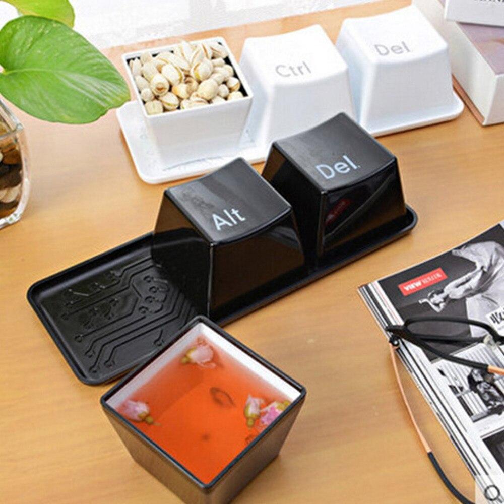 3 unids/set novedad creativa Simple teclado Ctrl ALT DEL tipo de té y café tazón taza contenedor