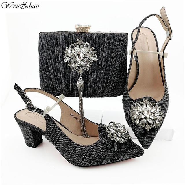 Red Italian fashion Shoes With Matching Bags Latest Rhinestone African Wedding Women Shoes and Bags Set 38-43 WENZHAN B95-22