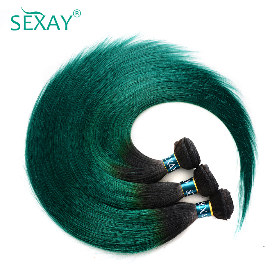Sexay Pre-Colored Green Ombre Peruvian Hair Bundles T1B/Turquoise Dark Roots Green Silky 3 Bundles Straight Human Hair Weave