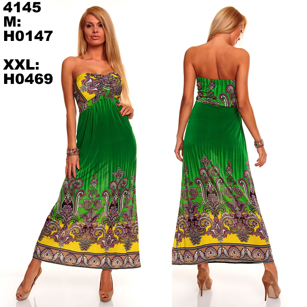M XXL Plus Size 6 Colors 2015 New Fashion Women Sexy Strapless Printed Maxi Long Bohemian Beach Dress Summer Casual Dress 4145