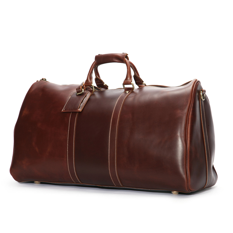 3c0434016 Baigio Men Travel Bag Leather Bag Vintage Brown Designer Travel Overnight  Tote Large Capacity Luggage Bag Shoulder Travel Bag-in Travel Bags from  Luggage ...