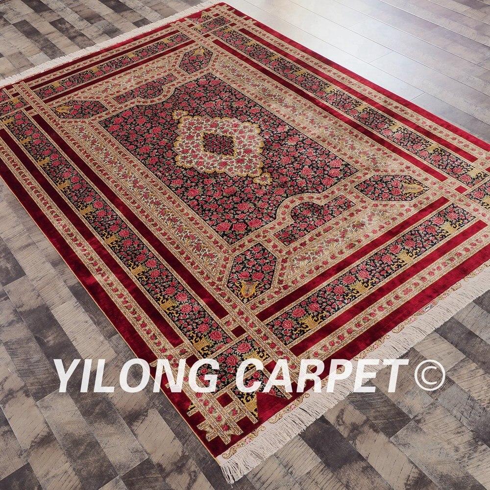 Yilong 6\'x9\' Hand Knotted Rose Garden Handmade Persian Silk Carpet ...