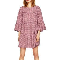 2017 New Summer Pink Blue Long Dress New Women Oversize Pleated Plaid Dress Elegant Flare Sleeve