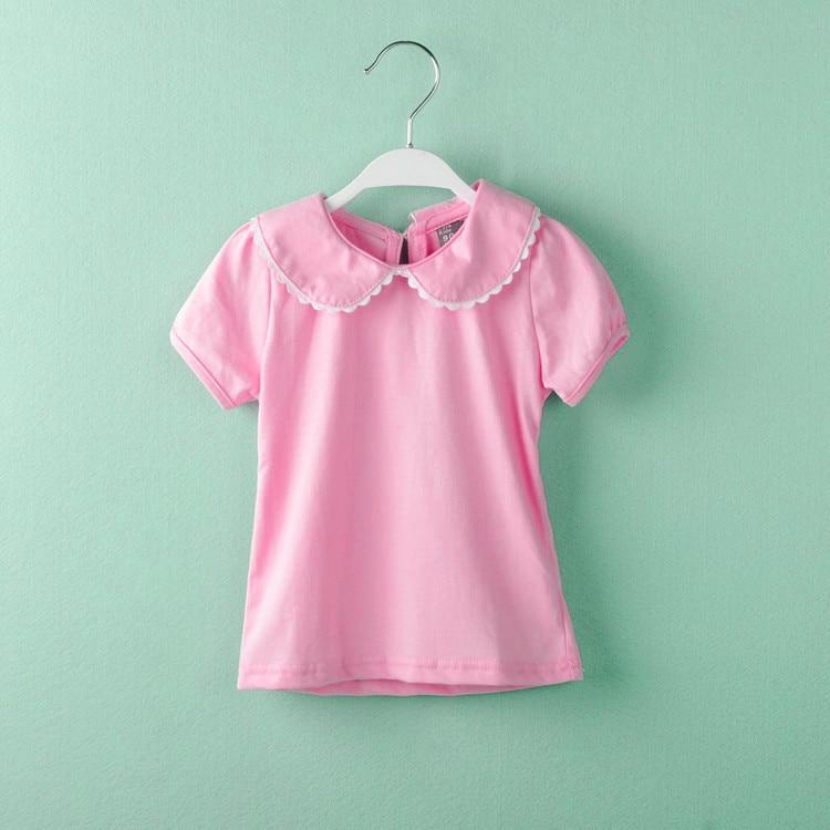 Bebê menina camisetas de algodão de manga curta T-shirt gola peter pan roupas assentamento tshirt encabeça roupas infantis de menina