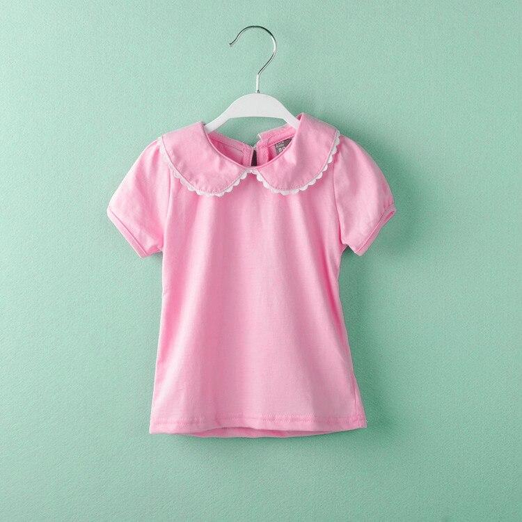 Baby mädchen t-shirts baumwolle kurzarm T-shirt peter pan kragen bodenbildung kleidung t-shirt tops roupas infantis menina