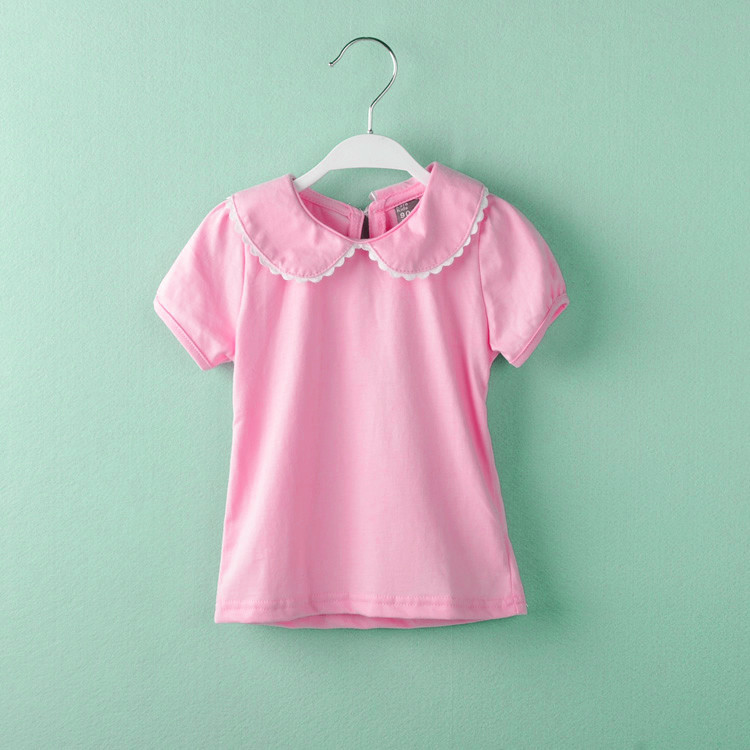 baby girl t-shirts cotton short sleeve T-shirt peter pan collar bottoming clothing tshirt tops roupas infantis menina