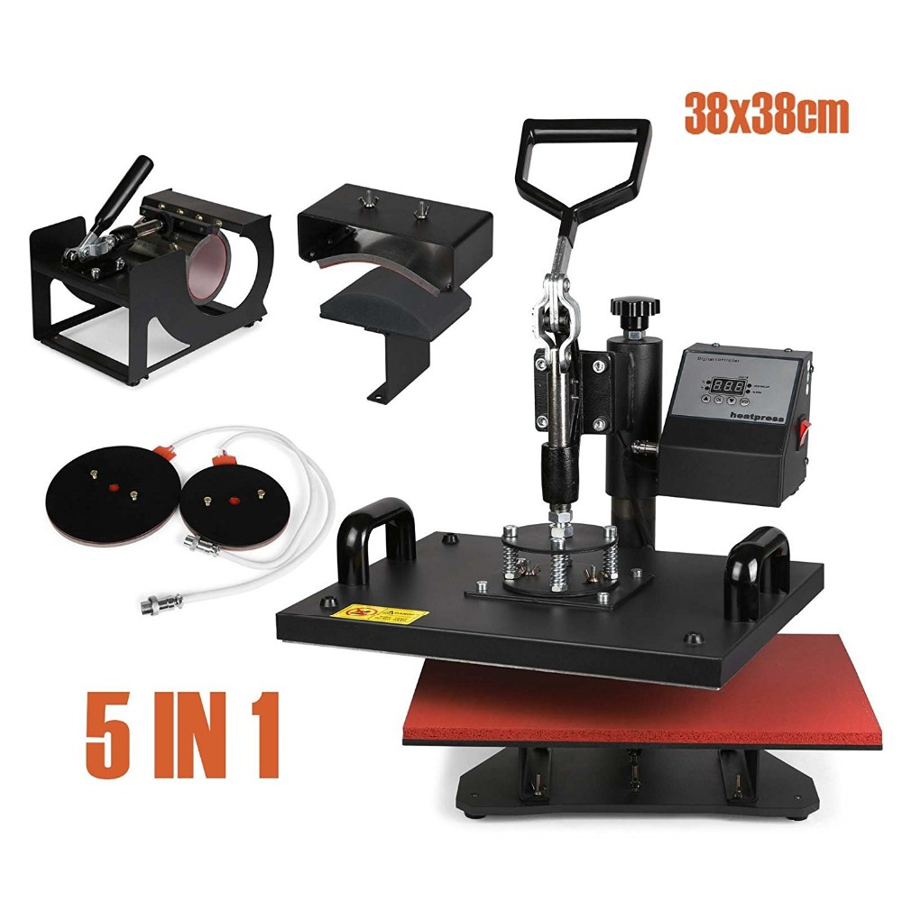 Heat Press Machine 5 in 1 38x38cm Multifunction Sublimation Desktop Iron Baseball Hat Press 15x15 Digital Swing Away Transfer plate press machine digital swing away heat press machina sublimation transfer for 10 inch plates 15cm diameter printining