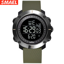 smael Luxury Brand Men's Sport Watches Men Stainless Steel LED Digital Waterproof Quartz Military Watch Man Clock erkek kol saat led quartz wristwatches luxury smael cool men watch big watches digital clock military army1436 waterproof sport watches for men