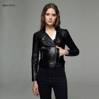 Qikenow 2017 Giả Da Mùa Đông Áo Khoác Nữ Slim Đầu Máy của Phụ Nữ Leather Jacket Ngắn PU Leather Giacca Pelle Donna