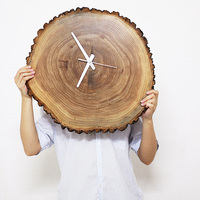 Creative Natural Solid Wood Annual Ring Clock Household Bedroom Brief Decoration Crafts Needle Quartz Time Wall Watch Clock Gift