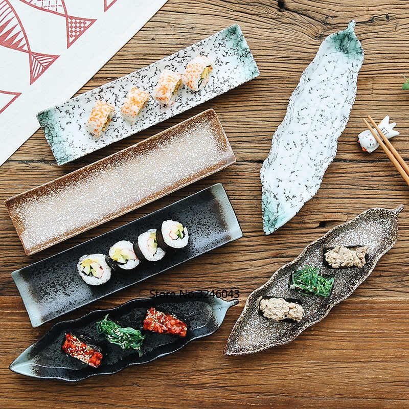 Japanese style and Japanese sushi plate snack plate Ceramic creative rectangular dish Personality retro tableware set