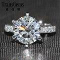 El envío Libre 5 Carat Crystal Piedra Anillo Moissanite Real Acentos de Diamante Sólido 14 K Oro Blanco Del Anillo de Bodas de Aniversario