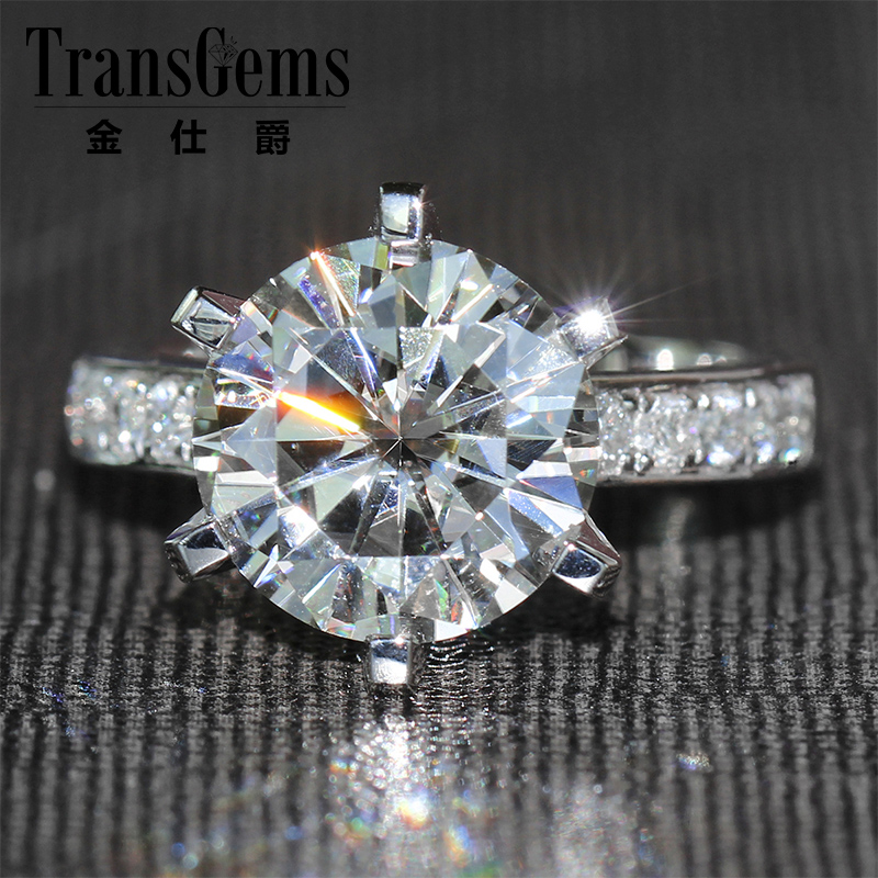 TransGems Carat F Color Lab Moissanite Wedding Ring with Real Diamond Accents