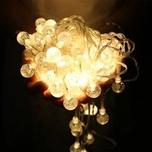 JUNJUE Crystal Ball Battery Led String Lights Christmas Party Holiday Wedding Waterproof Outdoor Home Decoration Fairy