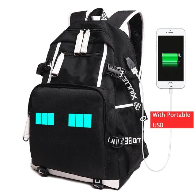 Minecraft Glowing Luminous School Bag Oxford Book Backpacks Enderman  Student Travel Rucksacks Action Figure Toys For Kid 75743ac8ffce3