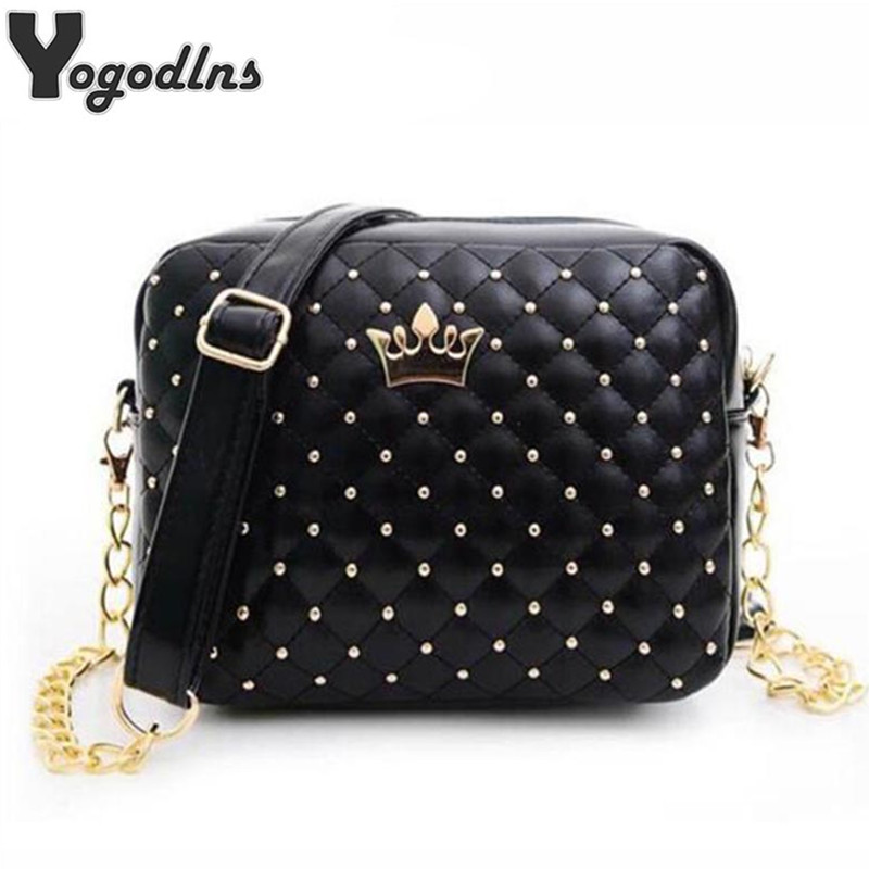 High Quality PU Leather Women Crossbody Bag Fashion Color Rivet Chain Design Women Shoulder Bags Color Shoulder Strap Ladies Bag 2017 spring fashion new handbags high quality pu leather women bag rivet flower chain shell bag sweet ladies lace shoulder bag
