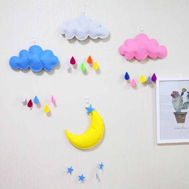 Baby Girl Room Decor Toys For Girls Soft Clouds Rainbow Moon Baby