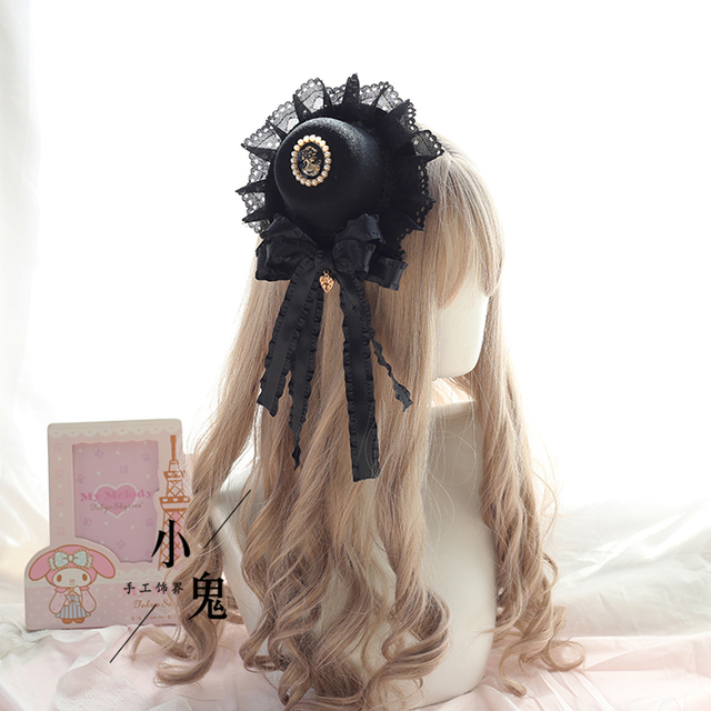 Vintage Dark Girls Gothic Lolita Pearls Bow Black Hat Headband Hair Accessories Headwear Women's Headdress Hair pin 3
