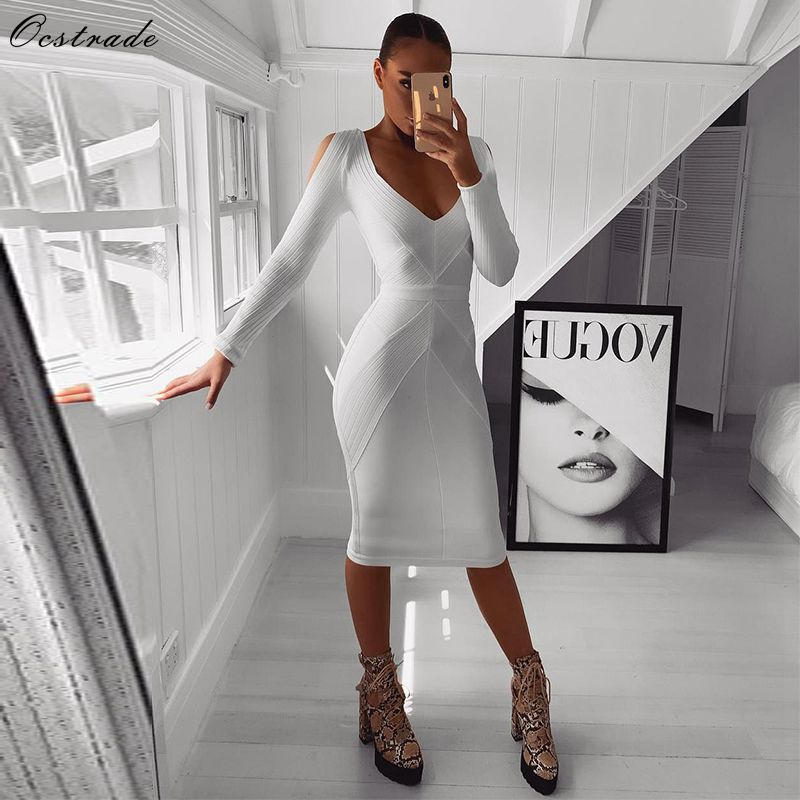 Ocstrade New Arrival 2019 Long Sleeve Bandage Dress Ribbed Women White Bandage Dress Bodycon Sexy Cold Shoulder Party Night