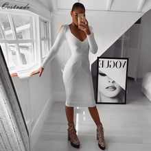 цена на Ocstrade New Arrival 2019 Long Sleeve Bandage Dress Ribbed Women White Bandage Dress Bodycon Sexy Cold Shoulder Party Night