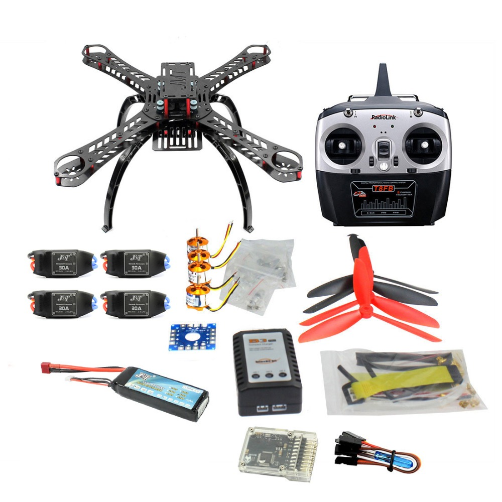 QQ SUPER Multi rotor Flight Control DIY 310mm Fiberglass Multicopter Kit T8FB 8CH Transmitter TX 1400KV Motor 30A ESC