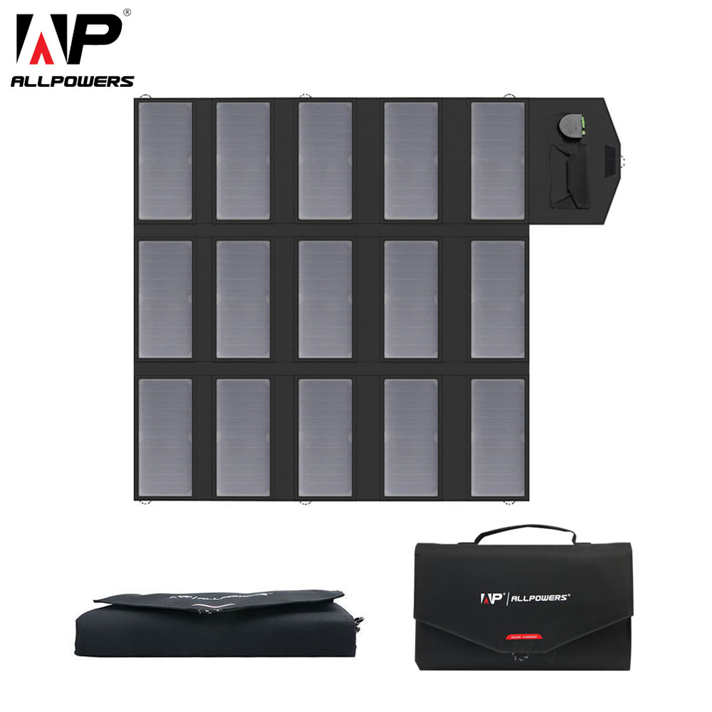 ALLPOWERS portátil del cargador del Panel Solar 100 W 18 V 12 v plegable del Panel Solar del cargador de batería Solar para iPhone portátil los teléfonos móviles