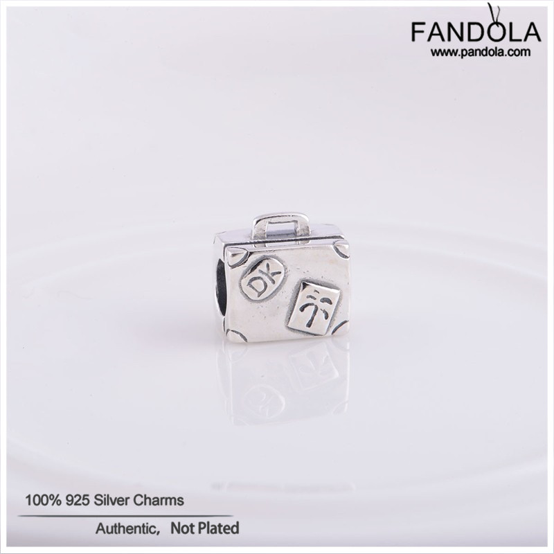 100 S925 Sterling Silver Jewelry Suitcase Design Thread Charm Beads for Women DIY Making Fits European