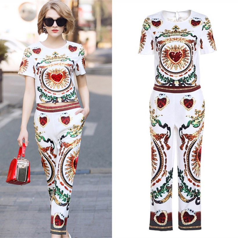 Women's Sets Limited Designer Party Pants Set Fashion Vintage Floral Retro Print Tops + Casual Twinset Pants Suit NS393