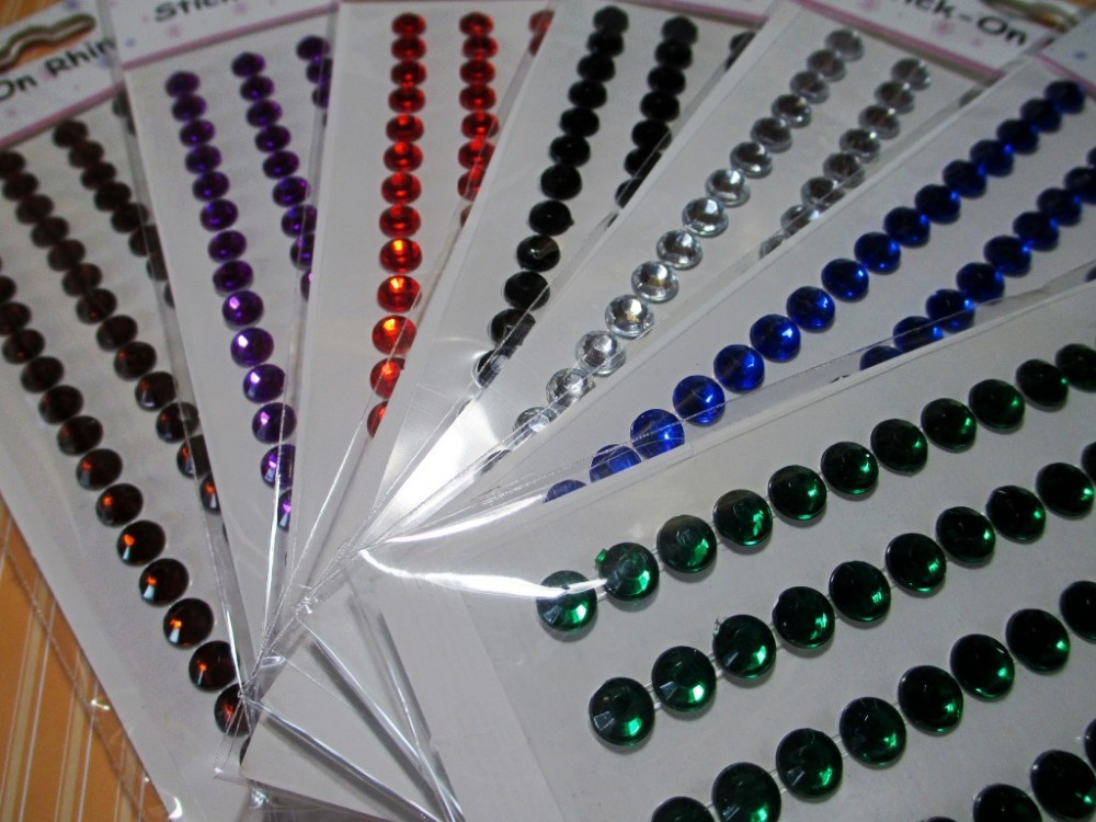 Decorative Rhinestone Stickers : Pcs scrapbook mixed color mm crystal stickers self