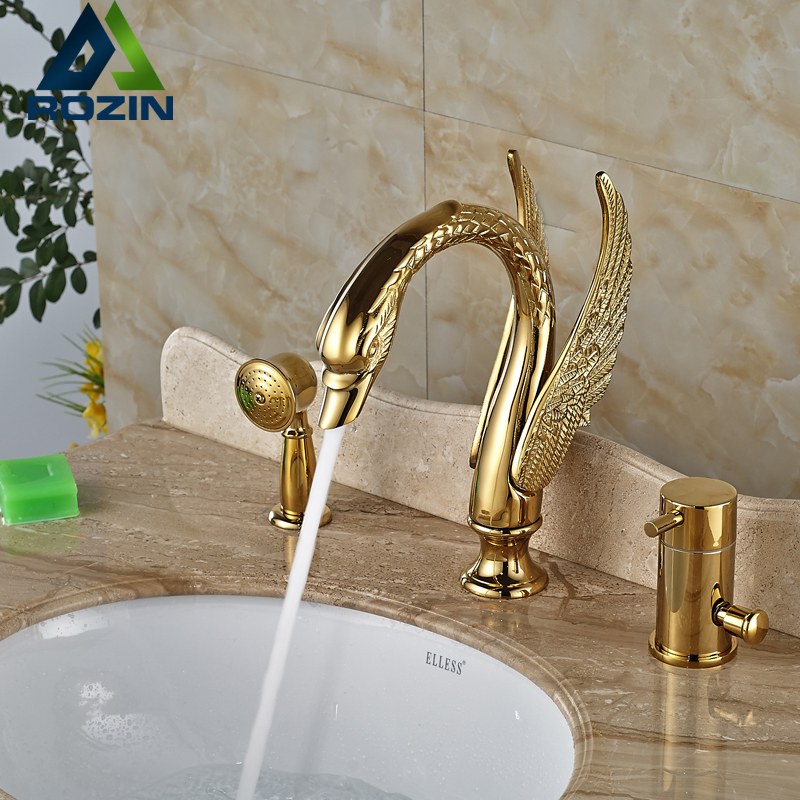 Luxury Brass Golen Bathtub Sink Faucet Deck Mount Swan Tub Mixer Taps One Handle 3 hole with Hand Shower