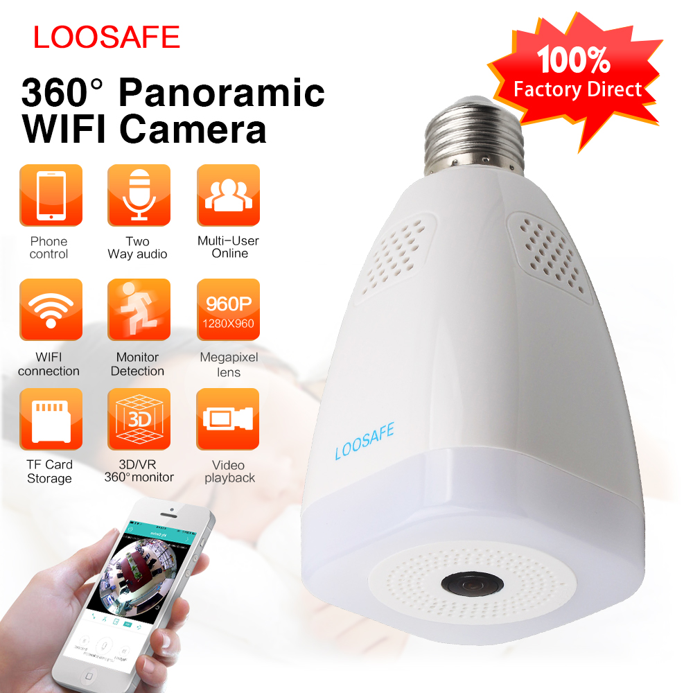 LOOSAFE 2MP IP Camera Wireless WIFI 360 camera 360 Light Night Vision Security Surveillance Wireless 360 Degree IP Camer ...