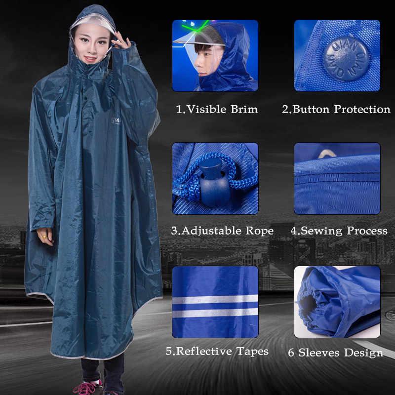 QIAN mężczyźni/kobiety nieprzemakalny płaszcz przeciwdeszczowy Electromobile/rowerowy rękaw poncho przeciwdeszczowe gruby widoczny przezroczysty kaptur sprzęt przeciwdeszczowy płaszcz przeciwdeszczowy