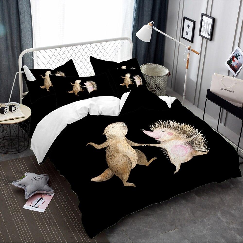 Bande dessinée petit Animal literie ensemble mignon marmotte hérisson imprimé housse de couette ensemble linge de lit enfants literie couverture décor à la maison 3/4 pièces
