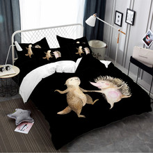 Cartoon Small Animal Bedding Set Cute Groundhog Hedgehog Printed Duvet Cover Bed Linens Kids Home Decor 3/4pcs