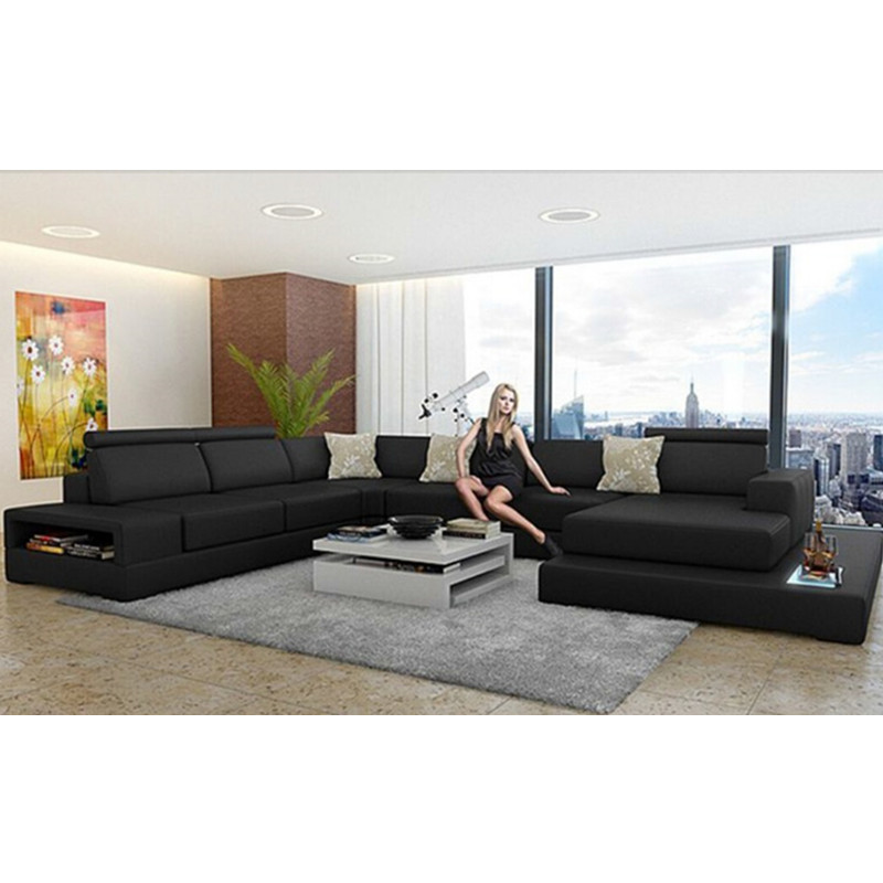 High End Black Genuine Leather Sofa-in Living Room Sofas