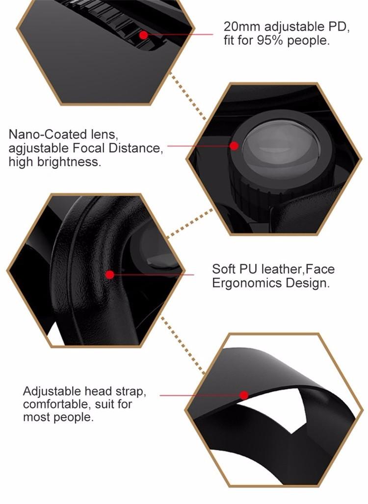 18 Original Shinecon VR Pro Virtual Reality 3D Glasses Headset VRBOX Head Mount Google Cardboard Helmet For Smartphone 4-6inch 22