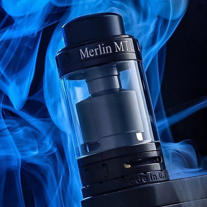 Augvape Merlin MTL RTA Atomizer 5ML 22MM Top Filling Purest Flavor 3ml Spare Glass Tube MTL Drip Tip Vape Tank RTA