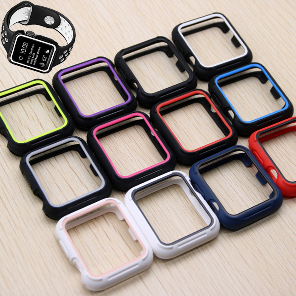 Silicone protective case for apple watch band 44mm 40mm iwatch band 42mm 38mm rubber case correa apple watch series 6 se 5 4 3 2