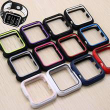Silicone protective case for apple watch band iwatch band 42mm/38mm full protector rubber case watchband for apple watch 3/2/1 pc cover case for apple watch 3 2 1 42mm 38mm iwatch series watch case colorful plating full frame protective case armor shell
